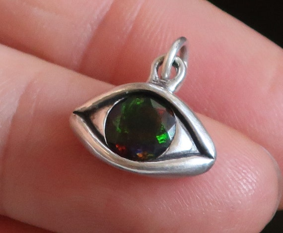 Large Sterling Silver Faceted Black Opal Eye Charm-Ready to Ship