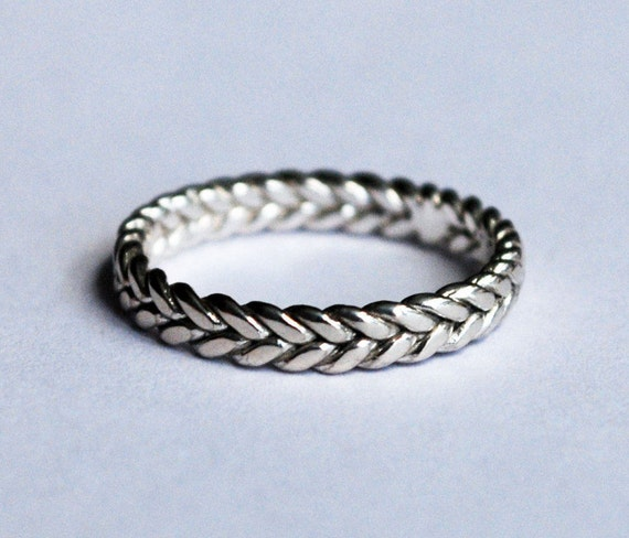 3mm width sterling silver braid ring