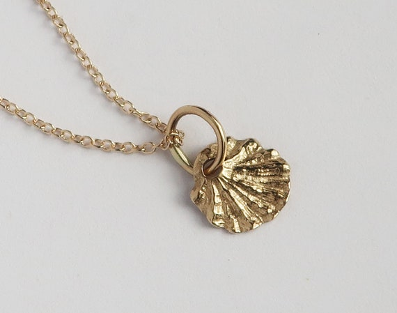 Tiny Fluted Solid Gold Shell Necklace