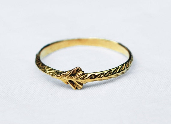 22 karat Solid Gold Tiny Sprout Ring- US Size 6.25-Ready to ship.