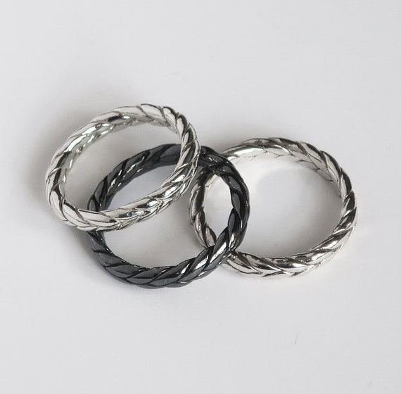 Sterling Silver Braid Rings-Samples, 3mm wide/2mm deep US sizes 4.5, 5.25, 5.75-Ready to Ship