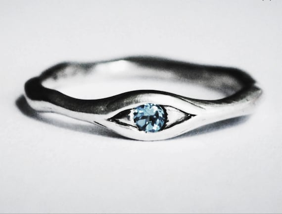 Sterling Silver and Genuine Blue Topaz Eye Ring, US Size 6.5-Ready to Ship