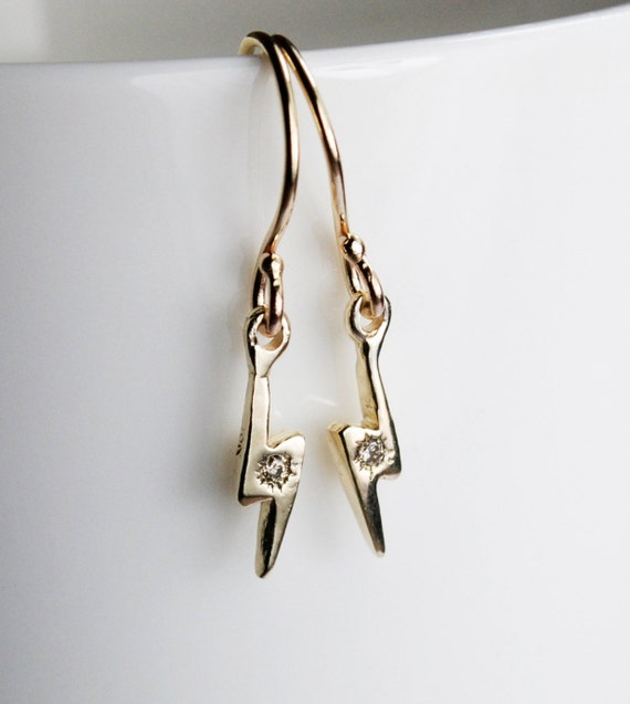 Gold & Champagne Diamond Lightning Bolt Dangle Earrings-Ready to Ship