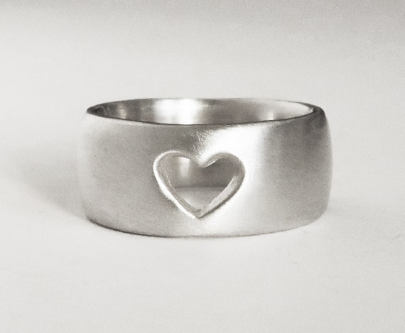 Wide Silver Cutout Heart Ring, US size 5.75-Ready to Ship