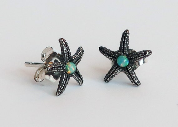 Sterling Silver & Opal Tiny Starfish Earrings-Ready to Ship
