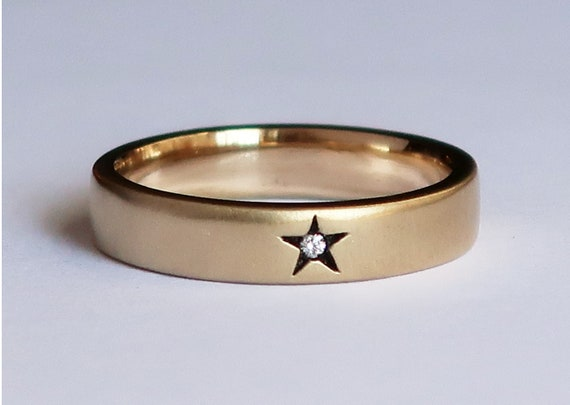 Little Star Ring, 5 k Yellow with White Diamond-Ready to Ship