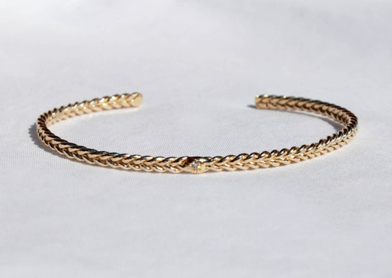 5K Yellow Gold and Tiny Diamond Thin Braid Stacking Bracelet-Ready to ship
