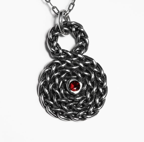 Sterling Silver and Red Garnet Infinity Spiral Pendant-Ready to Ship