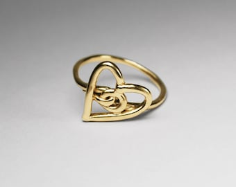 Solid Gold Heart Knot Ring