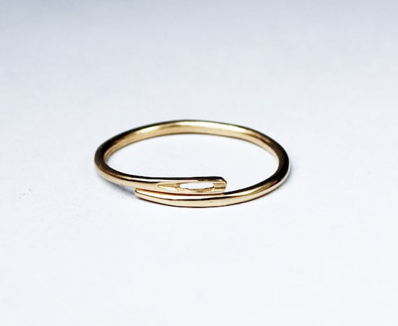 10k solid gold thin needle ring