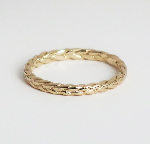 Solid 10k Yellow Gold Thin Braid Ring-US size 5.75-Ready to Ship