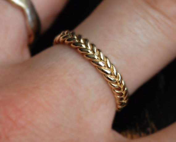 3mm width 10k yellow gold braid ring
