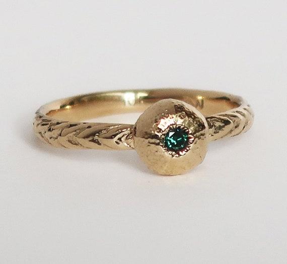 10k Gold and Blue Diamond Tiny Cushion Sea Urchin Ring, size 6.5-Ready to Ship