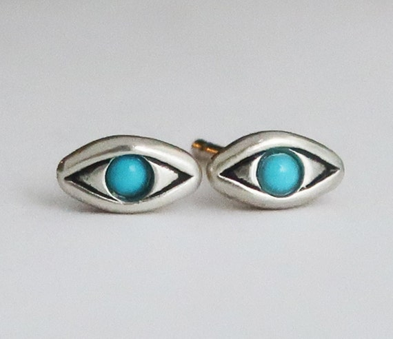 Sterling Silver with Persian Turquoise Evil Eye Stud Earrings
