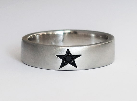 Sterling Silver Star Ring with Black Diamond-Limited Edition US size 10