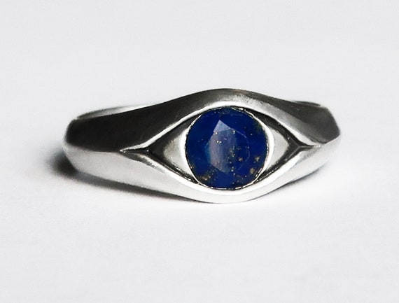 Large Sterling Silver and Faceted Lapis Lazuli Eye Ring-Ready to Ship