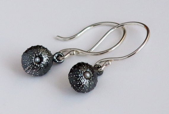 Sterling Silver and Pearl Tiny Cushion Sea Urchin Dangly Earrings