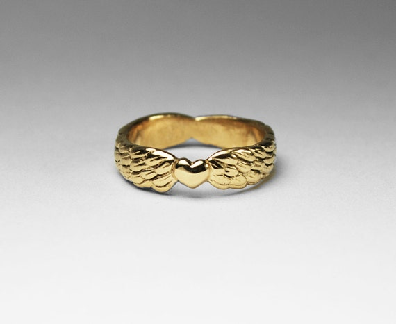 Solid Gold Winged Heart Ring