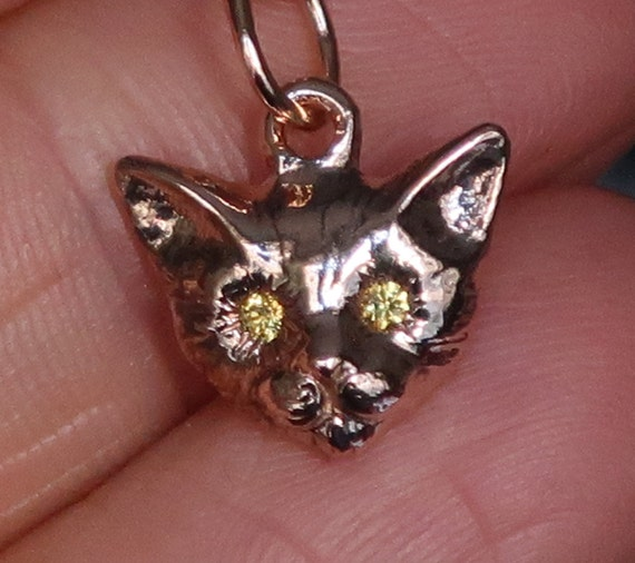 Rose Gold and Genuine Yellow Sapphire Kitty Cat Charm