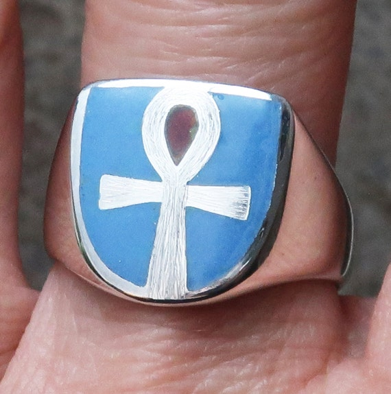 Sterling Silver, Blue and Red Glass Enameled Ankh Ring, Limited Edition, Ready to Ship, US Size 8.75