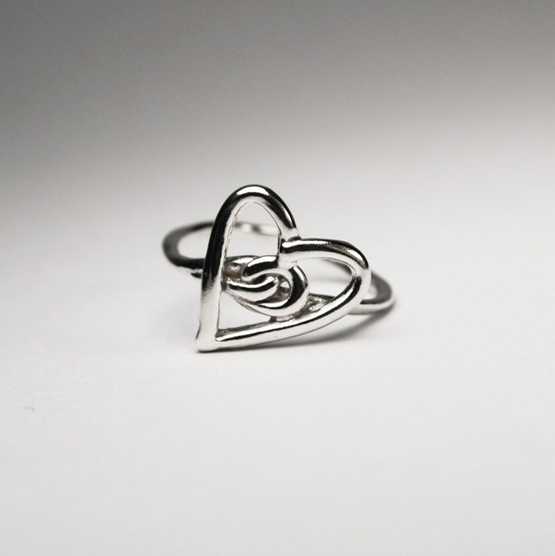 Silver Heart Knot Ring