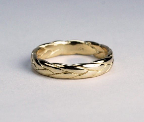 10k Yellow Gold Wide Braid Ring with Low Profile-solid cast