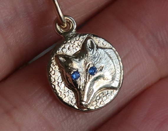 Yellow Gold Jeweled Wolf Charm Necklace-blue eyes-Ready to Ship