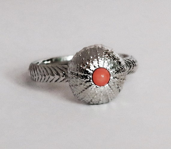 Sterling Silver and Pink Coral Cushion Sea Urchin Ring, size 6.75-Ready to Ship