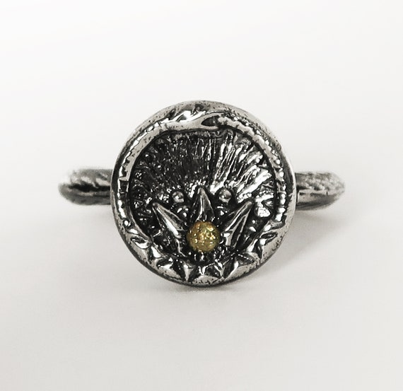 Black Sterling Silver and  Yellow Diamond Ouroboros Snake, Antique Parisian Button Ring- US size 6.75- Ready to Ship