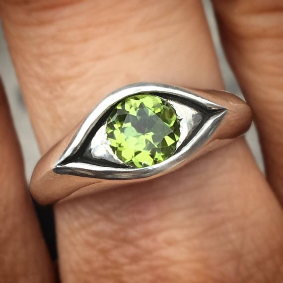 Large Sterling Silver and Peridot Eye Ring