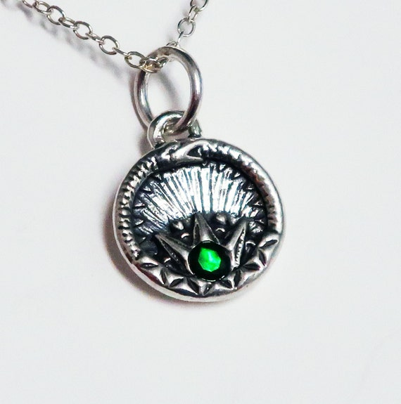 Sterling Silver and Black Opal Ouroboros Charm-Ready To Ship