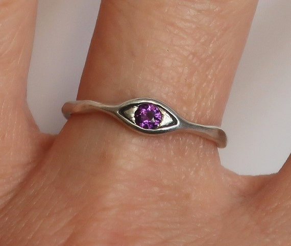 Sterling Silver and Genuine Amethyst Eye Ring, US size 7 -Ready to Ship