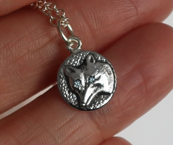 Sterling Silver Jeweled Fox Charm Necklace-pale grey blue eyes