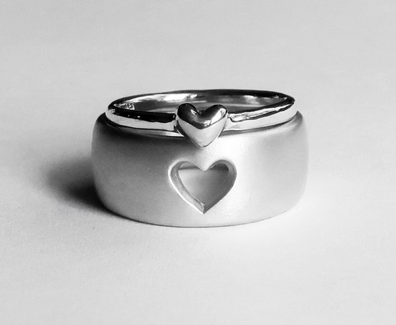 Sterling Silver Love Heart/Mother & Daughter Ring Set