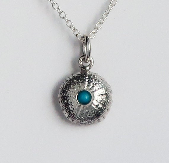 Sterling Silver and Turquoise Cushion Sea Urchin Necklace-Ready to Ship