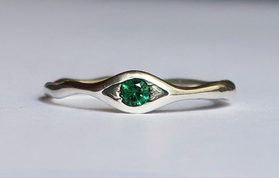 Sterling Silver and Green Spinel Eye Ring-Ready to Ship