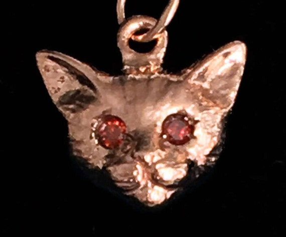Rose Gold and Cognac Diamond Kitty Cat Charm-Ready to Ship