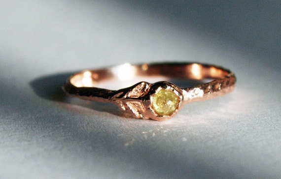 Rose Gold & Yellow Diamond Flower Ring