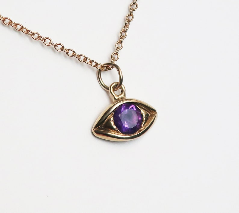 Large Gold and Amethyst Eye Charm-Ready to Ship