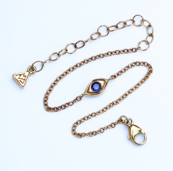 10k Yellow Gold and Blue Sapphire Evil Eye Bracelet-Thin Chain-Ready to Ship