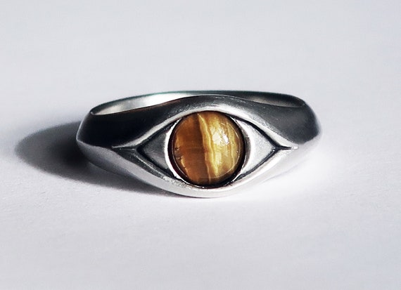 Large Sterling Silver and Tiger's Eye, Eye Ring-Ready to Ship