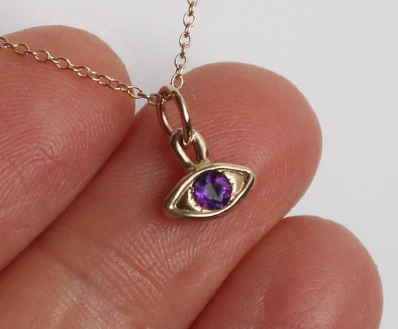 10k Yellow Gold & Amethyst Small Eye Charm-Ready to Ship