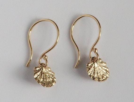 Tiny Fluted Solid 10k Gold Dangly Shell Earrings-Ready to Ship