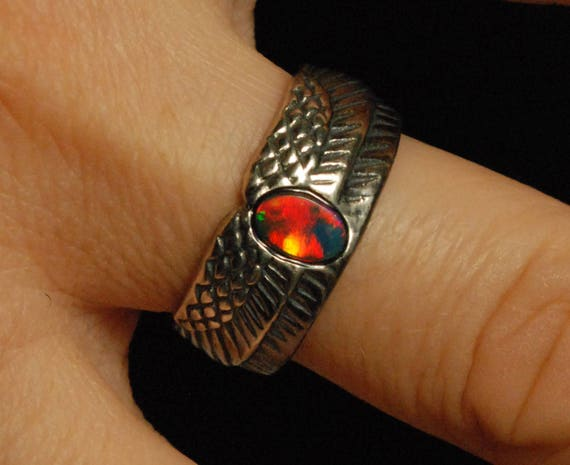 Sterling Silver and Rainbow Opal Winged Egg Ring