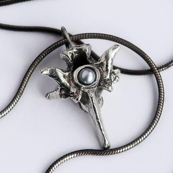 Silver & White Pearl Rattlesnake Vertebra Pendant_Pendant Only