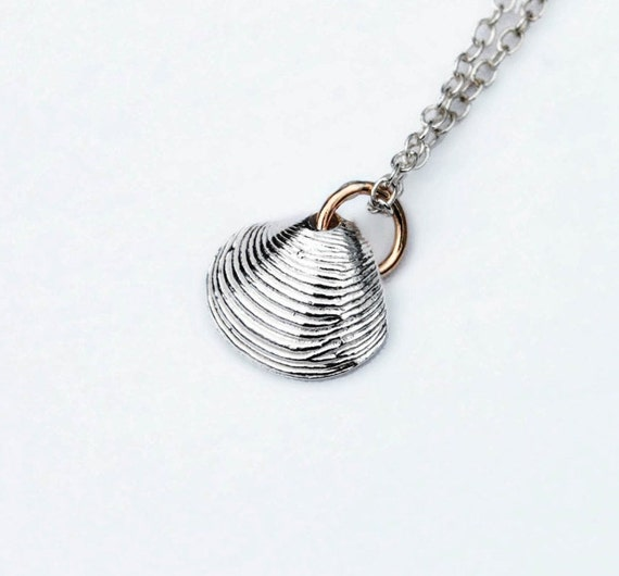 Tiny Solid Sterling Silver Clam Shell Charm Necklace-White Silver with Yellow Gold jump ring.