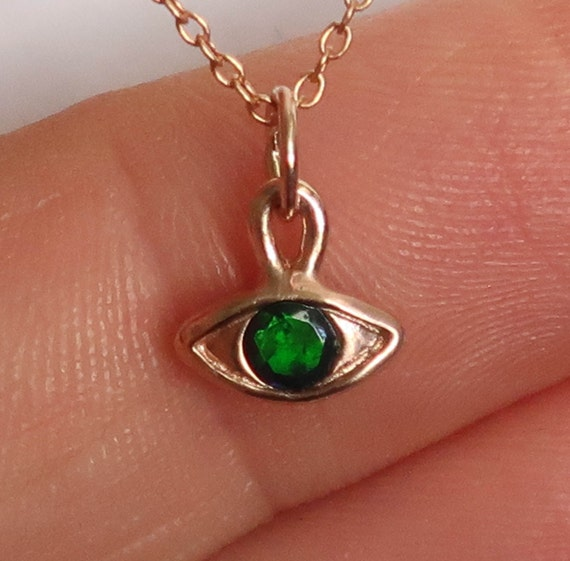 10k Rose Gold & Black Opal Eye Charm