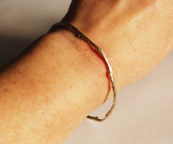 Tompkins Square Park Solid Gold Twig Bangle Bracelet