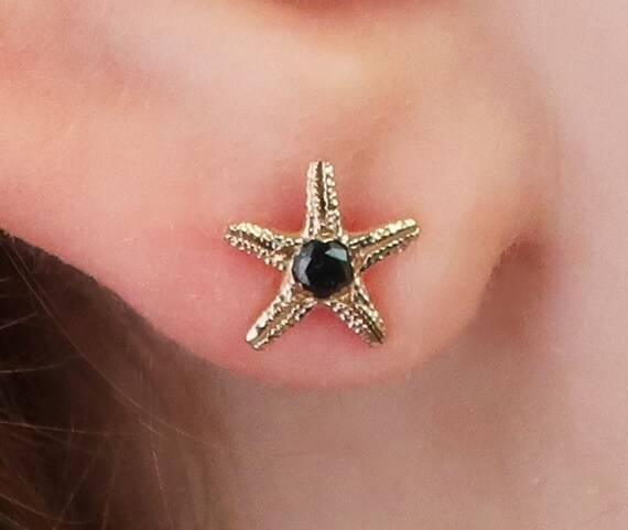 Solid Gold & Black Diamond Tiny Starfish-Single Stud Earring-Ready to Ship