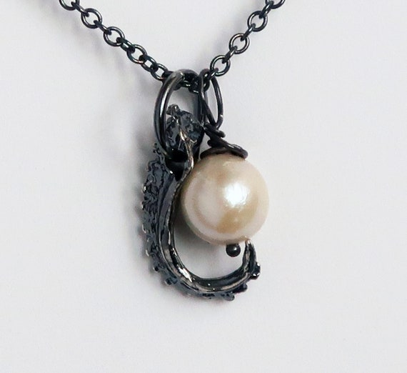 Blackened Sterling Silver & Vintage Cultured Pearl Tentacle Necklace-Ready to Ship